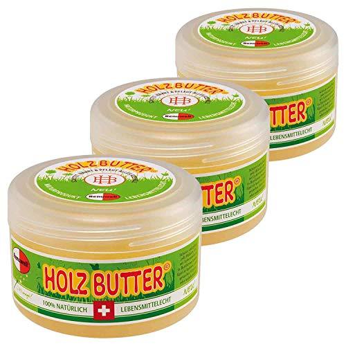 Renuwell 3 x 250 ml Holz-Butter Möbelpflege Holzpflege 100% Lebensmittelecht Spar-Set