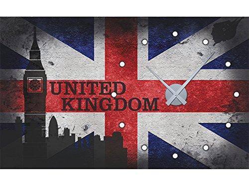 GRAZDesign 801110 Muursticker klok met uurwerk wandklok woonkamer vlag wereld Engeland Londen Uhrwerk silber