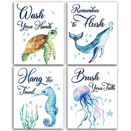 "Sea marine life Bathroom Watercolor Art Print Set of 4 (8""X10""), Sea Turtle Seahorse fish whale Jellyfish Wall Poster, Blue Ocean Theme Baby Nursery Kids Bathroom Wall Decor, No Frame"