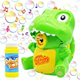 MOISO 2 in 1 Cartoon Dinosaur Toy Bubble Machine Automatic Bubble Blower with LED Light and Sound for Kids Birthday Family Party