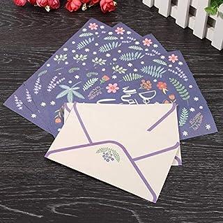 أظرف ورقية - مجموعة من 1 من Kicute برسومات الزهور المضحكة ومجموعة ورق الكتابة 4 أوراق ورقية ورقية وقطعتين من مظاريف لوازم ...