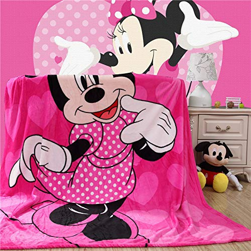 YKOUT Cartoon Pink Minnie Mickey Maus Weiche Flanelldecke, Überwurf Für Mädchen Kinder Auf Bett Sofa Couch Kinder Geschenk 150X200Cm