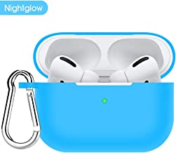 Case for AirPods Pro Case 2019,Protective Silicone Cover and AirPods Accessories Skin [Front LED Visible] Compatible with Apple AirPods Pro Charging Cases 3rd Gen and Keychain Kit Set-Fluorescent Blue
