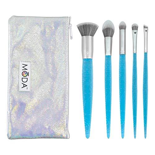 MODA Royal & Langnickel Mythical Blue Fire Lot de 6 pinceaux de maquillage avec pochette, comprend : Kabuki plat, Accentuate, Petit fard à paupières,