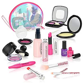 BEAURE Pretend Makeup for Girls Kids Makeup Kit 13 pcs Pretend Play Makeup Toys for 3 4 5 6 7 8 Years Old Kids Girls Toys with Cosmetic Bag Birthday Gifts Princess Toys Not Real Makeup