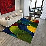 YXISHOME Alfombra De Pelo Corto Modelo De Diseño Salón de área Grande Alfombras Grande con patrón de Plumas de Colores Alfombra 1.2x1.6m