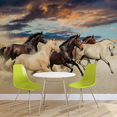 Pferde - Forwall - Fototapete - Tapete - Fotomural - Mural Wandbild - (2964WM) - XL - 208cm x 146cm - VLIES (EasyInstall) - 2 Pieces