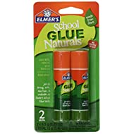 ELMERS School Glue Naturals Clear 0.21 Oz Stick, 2 Per Pack (E5044)