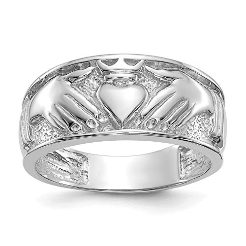 14k White Gold Mens Irish Claddagh Celtic Knot Wedding Ring Band Size 10.00 Man Fine Jewellery For Dad Mens Gifts For Him