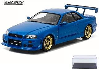 Diecast Car & Display Case Package - 1999 Artisan Nissan Skyline GT-R R34, Bayside Blue - Greenlight 19032 - 1/18 Scale Diecast Model Toy Car w/Display Case