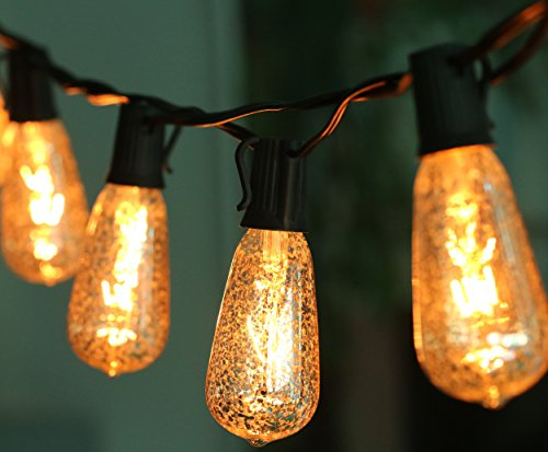 10 Ft Set of 10 Mercury Glass ST40 Edison Style Bulb Holiday String Lights, UL Listed, Black Wire, Crackled Finish Creating Mercury Glass Look