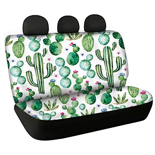 FOR U DESIGNS Tropical Cactus Design Dog Car Bench Seat Covers 2 Pcs Set for Men Women, Durable Non Slip Back Seat Covers Florida