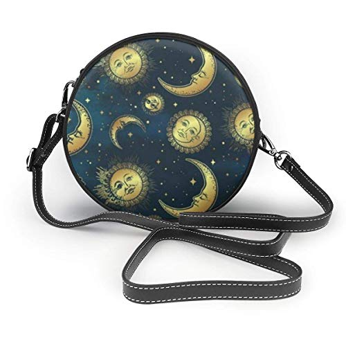 Boho Celestial Bodies Gold Sun Moon and Stars Crossbody Round Bag PU Leather Handbags Purse Menger Bag for Women