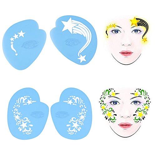 Salmue Pochoirs de Peinture pour Le Visage et Le Corps réutilisables - 7 Styles/Ensemble de Peinture Modèles de modèles de Dessin faciaux de Fleurs Papillons