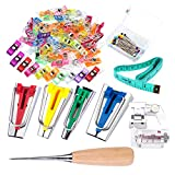 Bias Tape Tool Kit with Instruction, 4 Sizes Bias Tape Maker with 60 Pcs Sewing Clips, 50 ...