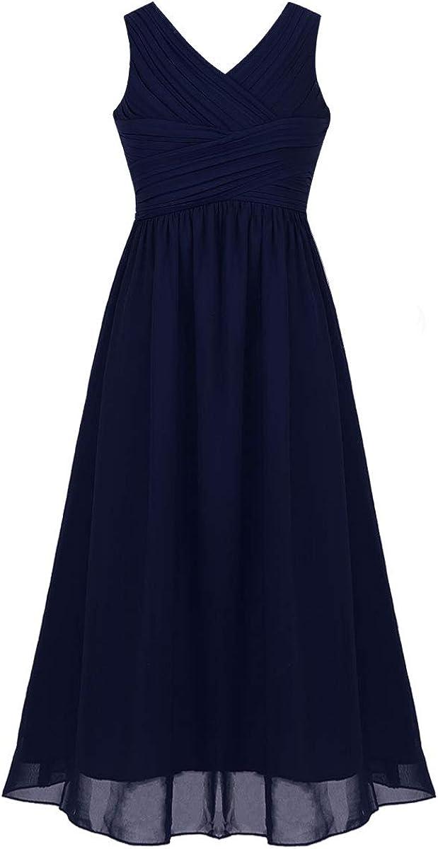 iiniim Big Girls V-Neck Chiffon Junior Long Cheap bargain Dress Wed Ultra-Cheap Deals Bridesmaid