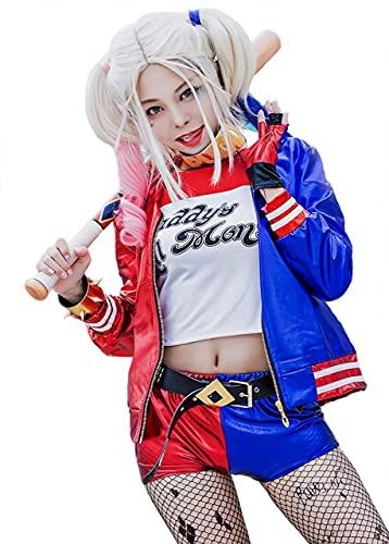 梦漫cosplayウィッグ付き ハーレイ・クイン コスプレ ハロウィン スーサイドスクワッド Suicide Squad ジョーカー ハーレークイン (女XL)