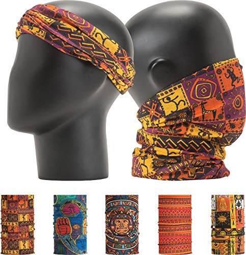 LEEVO Pattern Bold Headwear Scarf Boho Headband Wrap Shield Neck Gaiter Bandana