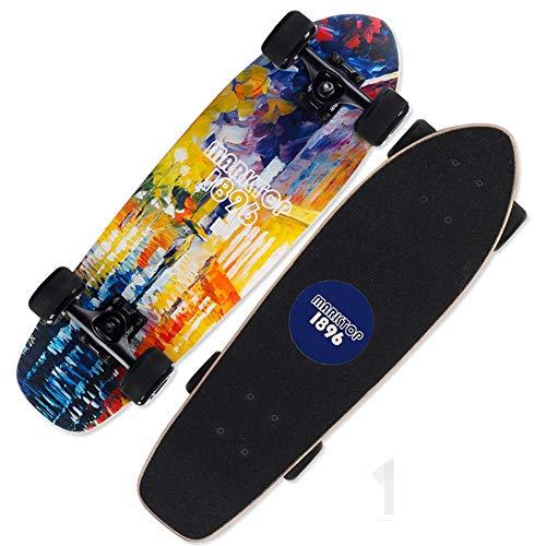 Mini Cruiser Skateboards, Skateboard 7 Layers Maple Wood Decks, para niños Adultos, Principiantes, niñas, niños, Regalo de Fantasy City