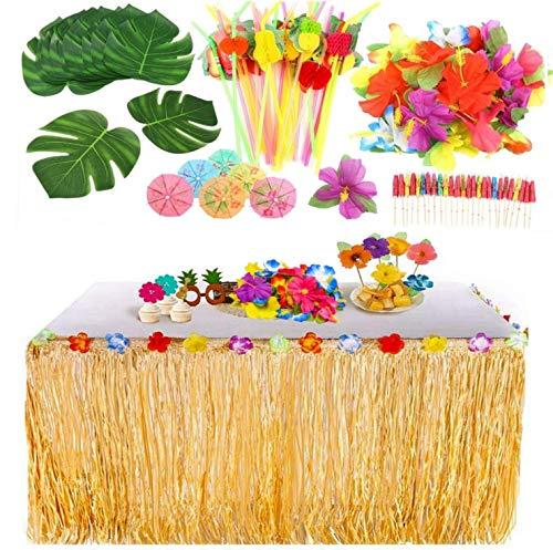 KAHEIGN 109Pcs Hawaii Luau Tischröcke Party Dekorationsset, Hawaiian Hibiscus Gras Tischrock mit Hawaiianische Blüten, Palmblätter Regenschirme und 3D Fruchtstrohhalme für BBQ Garten Tiki Party