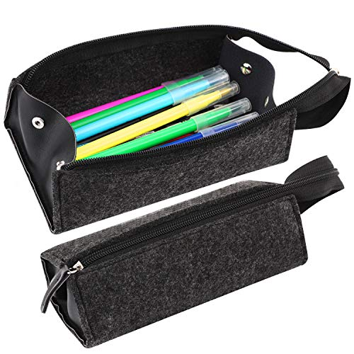MoKo Pen Pencil Case, Large Capacity Tray Type Pencil Holder Bag Pouch Stationery Organizer with Zipper for Office, School - Darkgray & Black