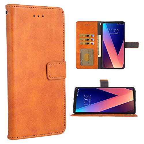 Phone Case for LG V35 ThinQ V30 Plus Folio Flip Wallet Case,PU Leather Credit Card Holder Slots Full Body Protection Kickstand Protective Phone Cover for LGV30 LGV35 Thin Q LG35 V35thinq Brown