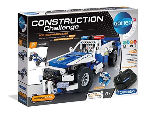 Clementoni 59144 Galileo Science – Construction Challenge Polizeifahrzeuge, Bausatz für ein ferngesteuertes Auto, Mechanik & Technik, Spielzeug für Kinder ab 8 Jahren