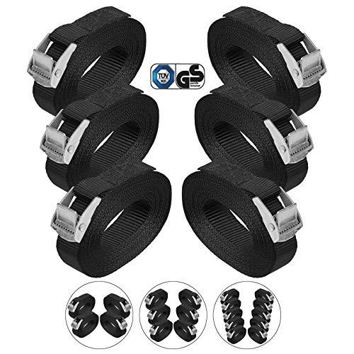BB Sport Sjorband spanband bevestigingsband met klemgesp - zwart, beschikbaar in verschillende lengtes en hoeveelheden - draagvermogen tot 250 kg DIN EN 12195-2, 6 stucks 2.5 cm x 4 m