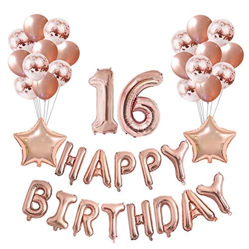 Toyvian Globos de Feliz cumpleaños Número 16 Globos Decorativos de Oro Rosa Conjunto Lentejuelas Globos para Fiesta de cumpleaños 37pcs
