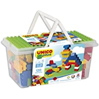 Compatibile con noti mattoncini da costruzione Contiene mattoncini verdi, gialli, rossi e blu il coperchio della scatola è un'ottima base Numero totale di pezzi: 120 Dimensioni della cestina: 35 x 20 x 17 cm Made in Italy