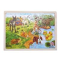 WANFEI 60ピース 木製パズル 知育パズル 教育玩具 おもちゃ 子供向け 幼稚園 パズルゲーム 農場