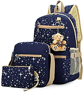 Preppy Style 3Pcs Elementary School Bag Canvas Casual Book Bags