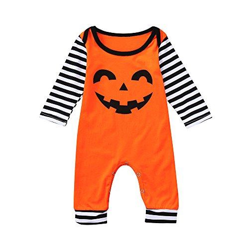 DAY8 Vêtement Bébé Garçon Naissance 0-24 Mois Halloween Pyjama Bébé Garçon Hiver Body Combinaison Bébé Fille Pas Cher Automne Manteau Bébé Fille Barboteuse Cartoon (70(0-6 Mois), Orange)
