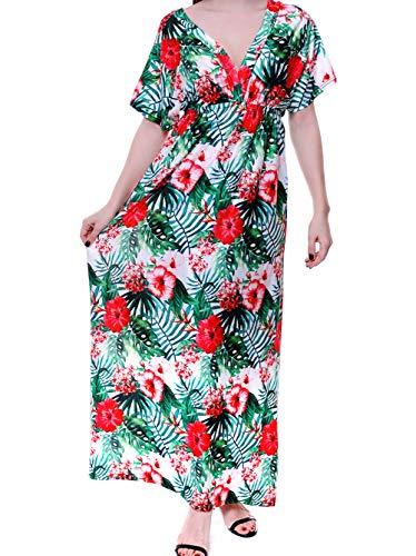 sunseen Women's Plus Size Hawaiian Beach Dress Boho Floral Maxi Sundress Slim Sexy Cool Vacation Casual Long Party Dress (L, Green)