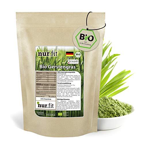 nur.fit by Nurafit BIO Gerstengras Pulver 500g - rein natürliches Pulver aus Gerstengras ohne Zusatzstoffe aus deutschem Anbau – Bio zertifiziertes Green-Smoothie-Pulver mit Vitaminen & Mineralstoffen