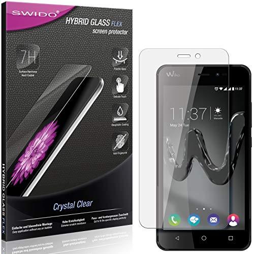 SWIDO Panzerglas Schutzfolie kompatibel mit Wiko Freddy Bildschirmschutz-Folie & Glas = biegsames HYBRIDGLAS, splitterfrei, Anti-Fingerprint KLAR - HD-Clear