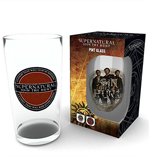empireposter Supernatural - Logo - Glas 500 ml, Höhe 14,7 cm, Ø 9 cm am oberen Rand - Fanartikel Geschenkartikel Bierglas Pint Glass