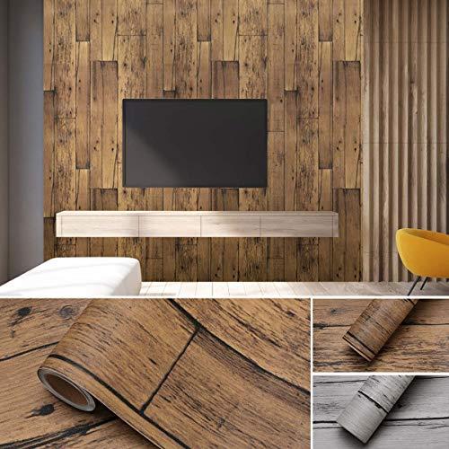 KINLO 5*0.61M Adesivi per mobili Carta da parati autoadesiva in legno impermeabile in PVC per armadio da cucina Adesivi murali impermeabili Decor Tavolo Armadio Porta piastrelle (Marrone,1 Rotolo)