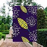 Keine Marke, doppelseitig, Premium-Fahne, Frühlingsgarten, dekorative Flagge, grüne Blätter, lila, weiße Punkte, Dekoration, 30,5 x 45,7 cm, Hausflagge für Terrasse, Rasen,...
