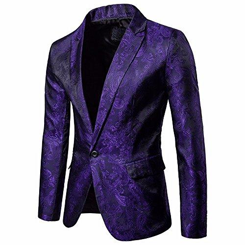 STRIR Chaqueta de Traje para Hombre,Moda Hombres de Encanto Casual Un Botón Apto Traje Blazer Chaqueta de Abrigo Tops (M, Púrpura)