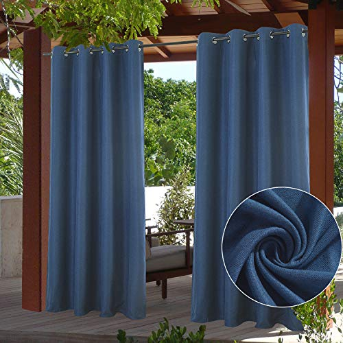 """PRAVIVE Outdoor Patio Curtains & Drapes Blackout - Rustproof Grommet Waterproof Suede Pergola Shades Porch Blinds Privacy Curtain Panel for Canopy/Balcony, Navy Blue, W52""""x L95"""",1 Pc"""