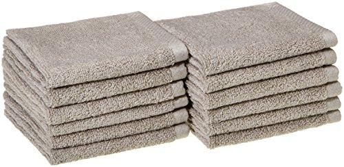 AmazonBasics, Juego de toallas de secado rápido, Platino, 12 piezas