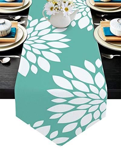 Camino de mesa de algodón y lino con borde triángulo de 33 x 182 cm, diseño de pétalos de flores de Dalia, bufandas de mesa para cenas, fiestas, bodas, banquetes o campiña, fondo verde