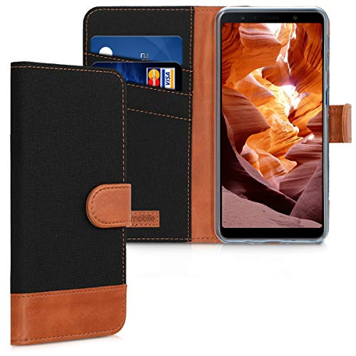 kwmobile Wallet Hülle kompatibel mit Samsung Galaxy A7 (2018) - Hülle Kunstleder mit Kartenfächern Stand in Schwarz Braun