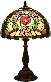JEONSWOD Vintage Lampe De Table, Roses Floral Vitrail Avec Alliage De Base, Chambre Salon Café Salle Lampe De Bureau