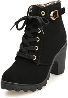 Women Ankle Martin Boots Lace Up Platform Chunky High Heels Zipper Autumn Booties with Buckle Straps