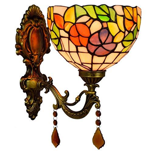 LHQ-HQ Inglés Pastoral creativa Espejo Faros clásico Pastoral de cristal de noche la lámpara de pared del pasillo Bar Corredor lámpara de pared de la decoración de la pared de luz de la lámpara de Tif
