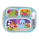 French Bull – BPA-freies Kinderteller-Set – 20,3 cm Melamin Kinder Teller Set – Dschungel, 4er-Set Geteilte Schale ocean
