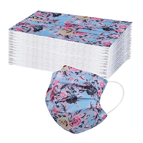 iYYVV Adult Face Protection Kleine Einweg-Luftfilter Ohr Ohr 3 Schichten Floral Print