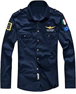Lavnis Men's Flight Shirts Jacket Casual Long Sleeve Lightweight Shirt Jackets